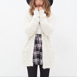 Forever 21 fuzzy white cardigan